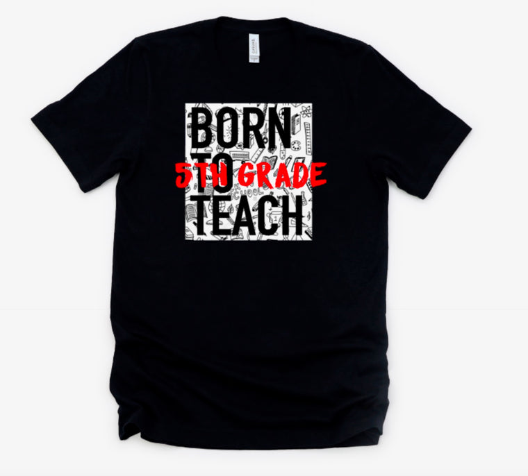 Born to Teach raglan (leopard/metallic gold)