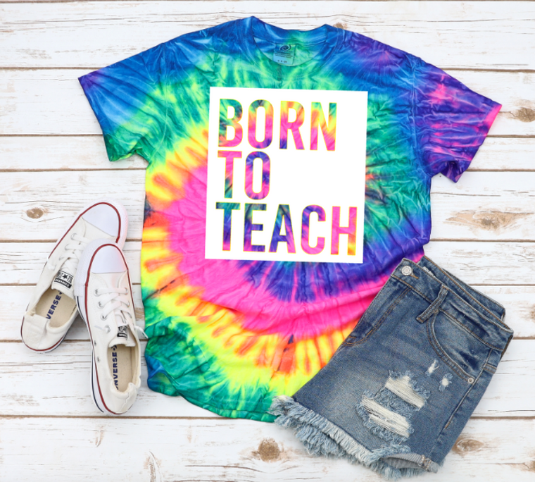BORN TO TEACH (Tie Dye NEON TEE)