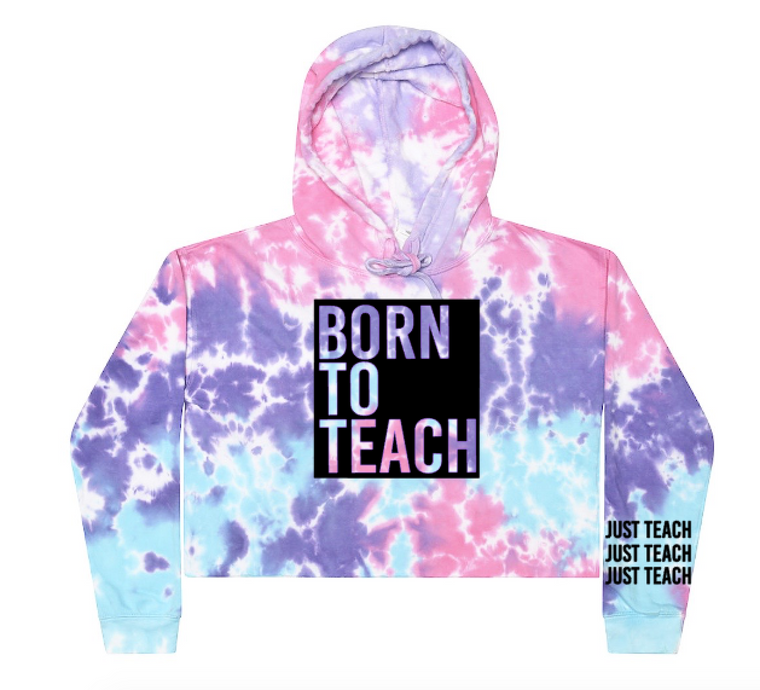 Born To Teach Cropped Hoodie (black ink)