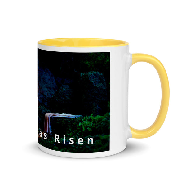 Our Lord Has Risen Mug with Yellow/Blue/Red/Black Color Inside