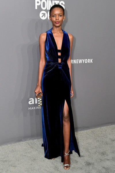 Flaviana Matata carries the 'Polanco' clutch to the Amfar Gala, NYC