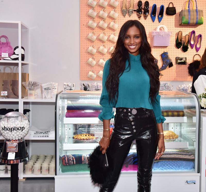 Jasmine Tookes Carries the 'Majorelle' to NYFW for the Shop Bop Event