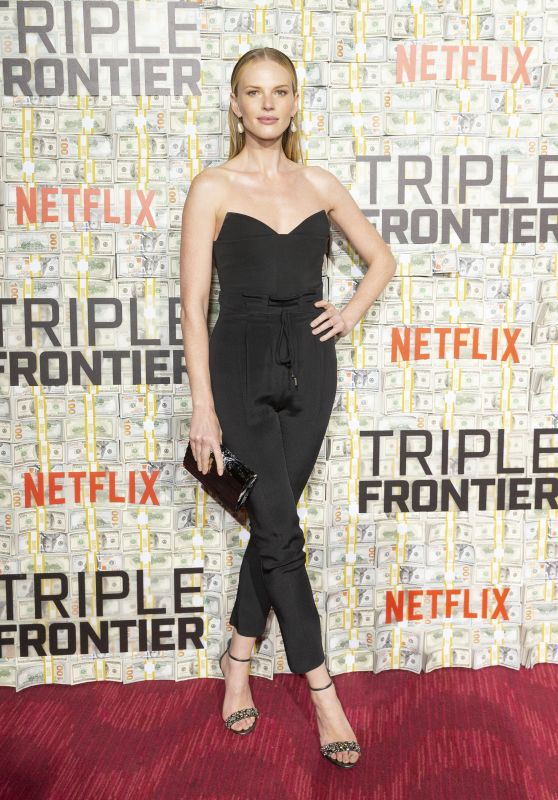 Anne Vyalitsyna carries 'The Shard' to the Netflix World Premiere of Triple Frontier in NYC