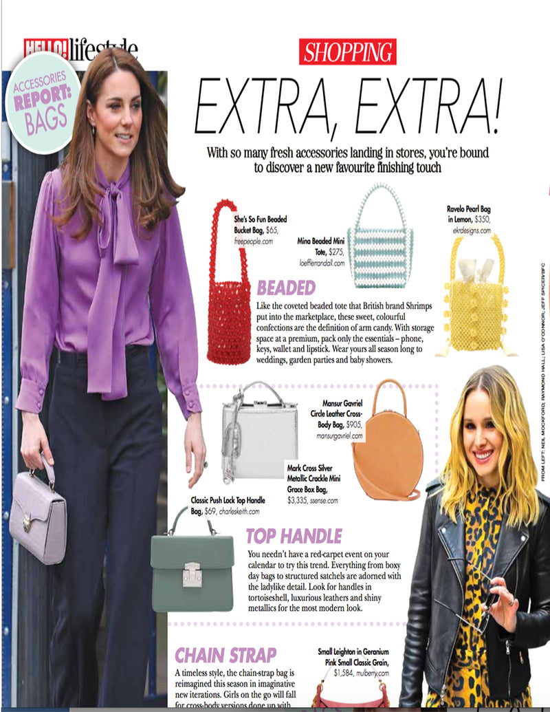 The 'Ravelo' Beaded bag featured in Hello! Lifestyle Canada Magazine