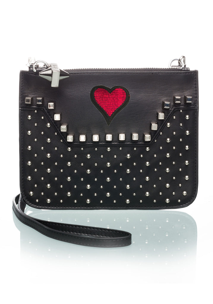 Custom Studded Black Crossbody Heart-OPTION ONE