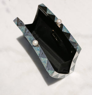 Gehry Evening Clutch- Blue Diamond/Hammered