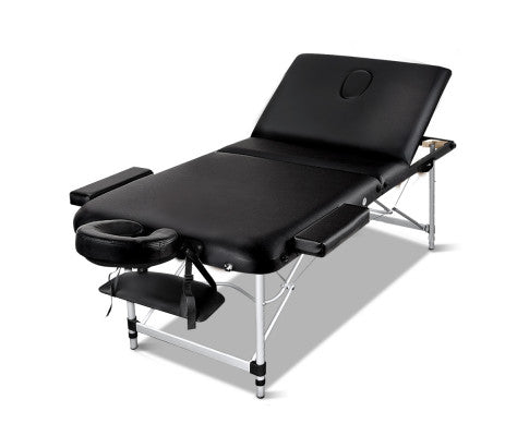 3 Fold Portable Aluminium Massage Table - Black