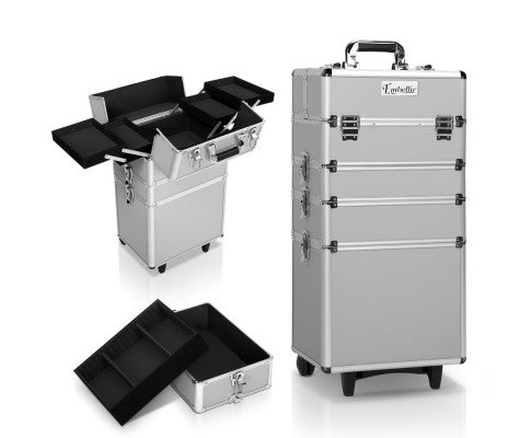 Portable Cosmetic Beauty Makeup Trolley - Silver