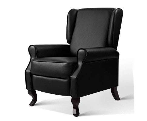 Leather Recliner Luxury Lounge Armchair Sofa - Black