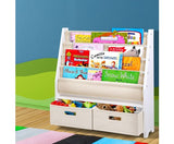 4 tier Kids Bookshelf Wooden Bookcase Children Toy Organiser Display Rack