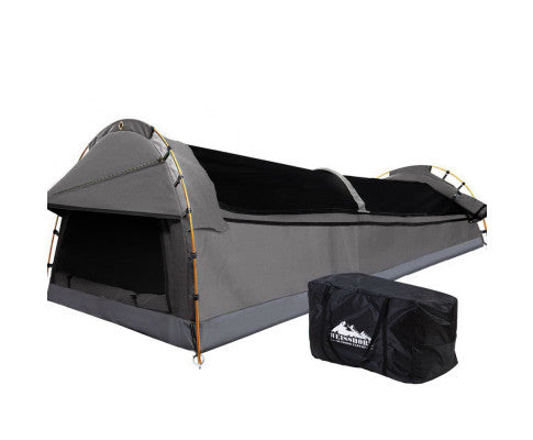 Double Swag Camping Swags Canvas Tent Deluxe Grey With Mattress