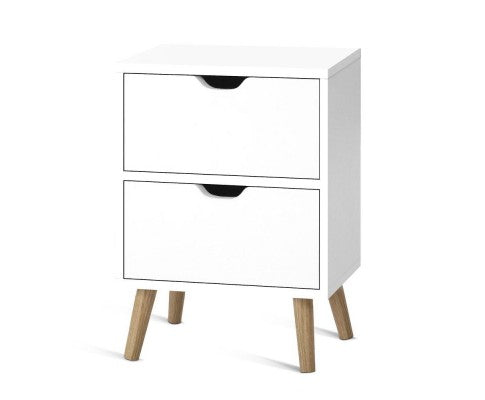 Wooden Bedside Table - White