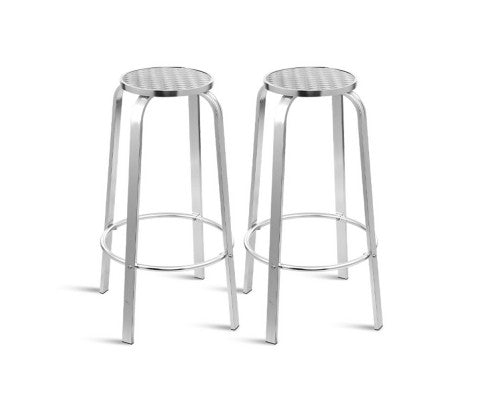2 x Alluminium Outdoor Bar Stools