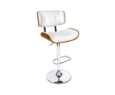 Wooden Gas Lift Bar Stools - White