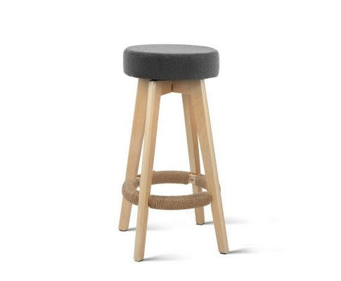 2 x Wooden Kitchen Bar Stools with Swivel - Grey