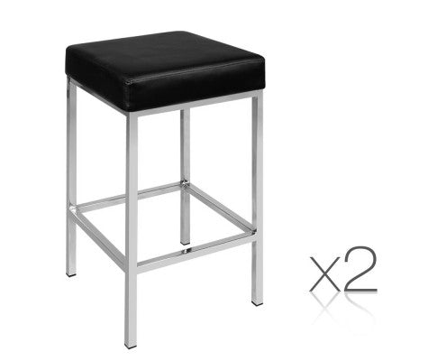 Set of 2 PU Leather Bar Stools - Black