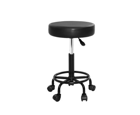Round Salon Stool with Hydraulic Lift and Swivel - Black
