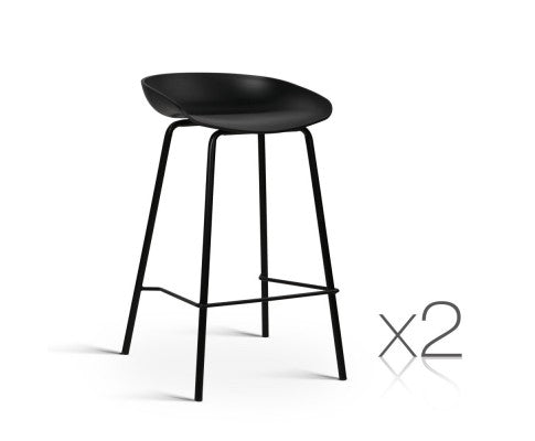 Set of 2 Metal Bar Stools - Black