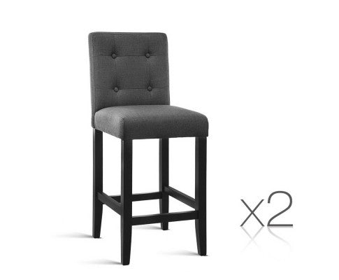 Set of 2 French Provincial Dining Chairs - Charcoal