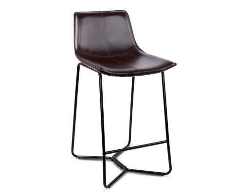 Set of 2 PU Metal and Leather Bar Stools - Black