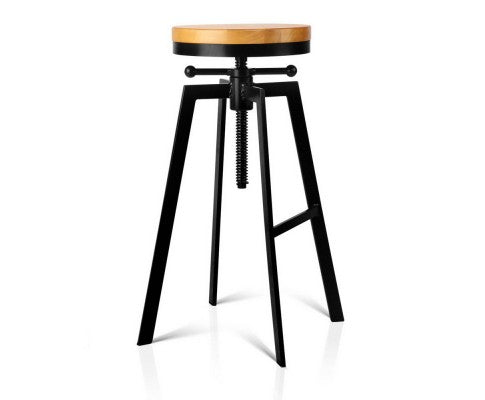 Adjustable Height Swivel Bar Stool - Black
