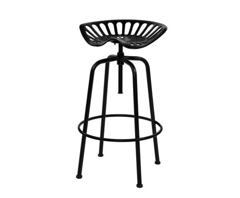Vinage Industrial Swivel Tractor Bar Stools Metal - Black