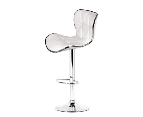 Set of 2 PU Leather Bar Stools - White