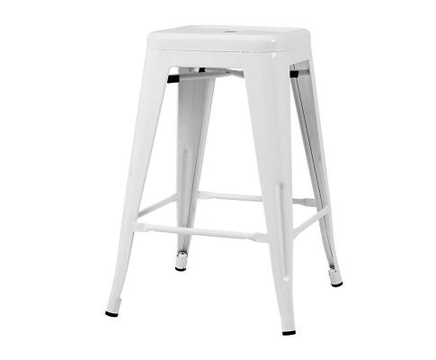 4 x Metal Replica Tolix Bar Stools - White