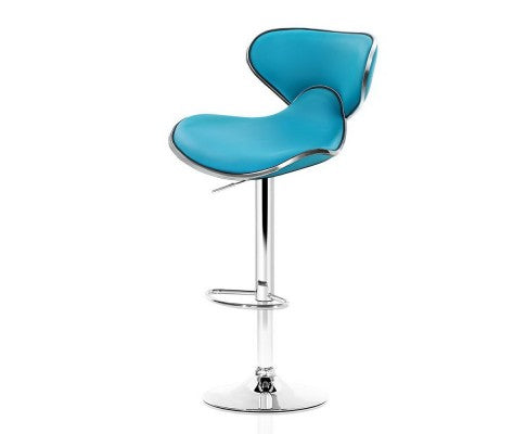 2 x Gas Lift Swivel Bar Stools - Teal