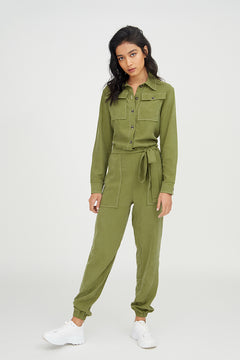 NOTICED BY JORDAN Soft Utility Jumpsuit with Tie Waist and Contrast Stitch