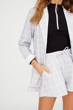 NOTICED BY JORDAN Soft Longline Blazer In Grid Print