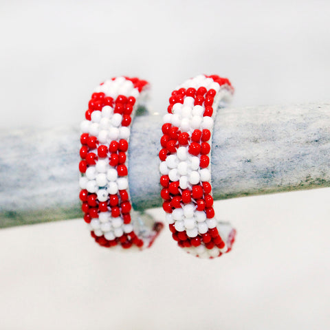Earrings - Beaded Half Hoop