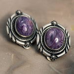 Earrings - Charoite - Clip On