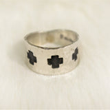 Ring - Silver Band with Crosses