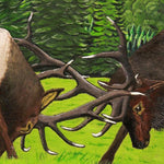 Wood slab - Elk Fight