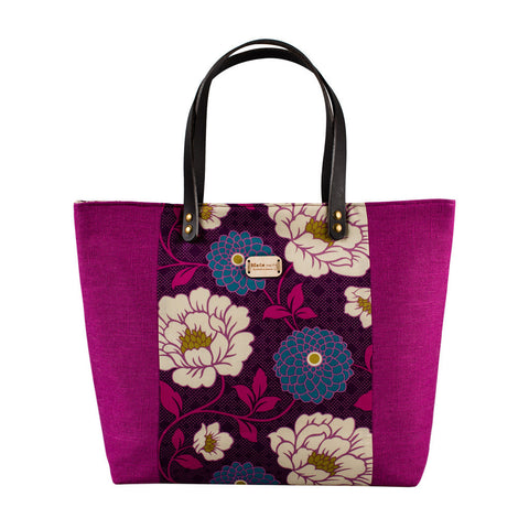 Purple Floral Large Tote Bag