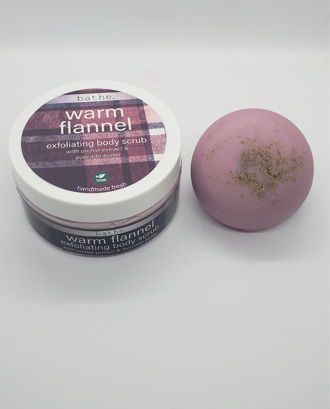 warm flannel scrub & lotion combo