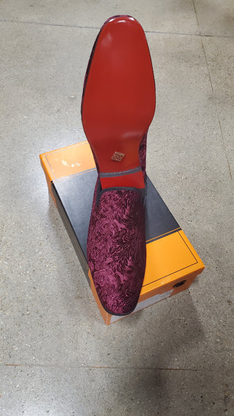 Mens Velvet Red Bottom Slip On Shoes