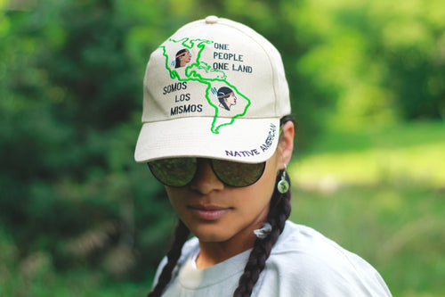 One People One Land Hat - Khaki color w/ Embroidered Design