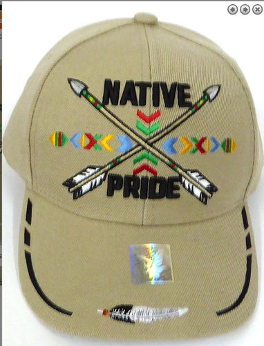 Native Pride Hat - Khaki w/ Embroidered Design