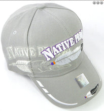 Load image into Gallery viewer, Native Pride Hat- Gray color w/ Embroidered Design