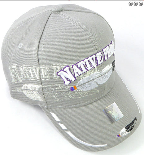 Native Pride Hat- Gray color w/ Embroidered Design