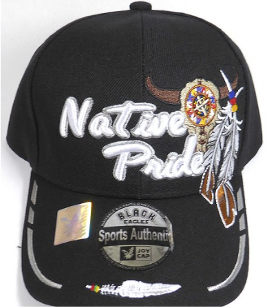 Native Pride Hat - Buffalo Skull and Feathers on Side