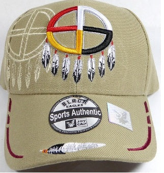 Native Medicine Wheel Hat - Khaki color w/ Embroidered Design