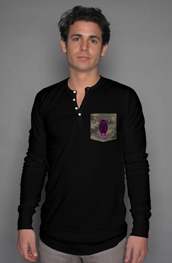 The Owl - Camo Pocket Henley