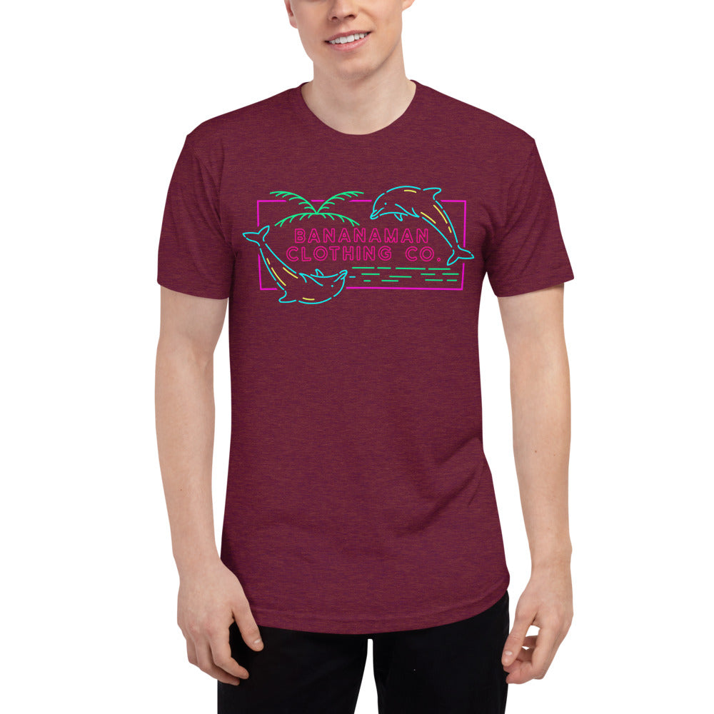 The Neon Dolphin - Unisex Tri-Blend Track Shirt