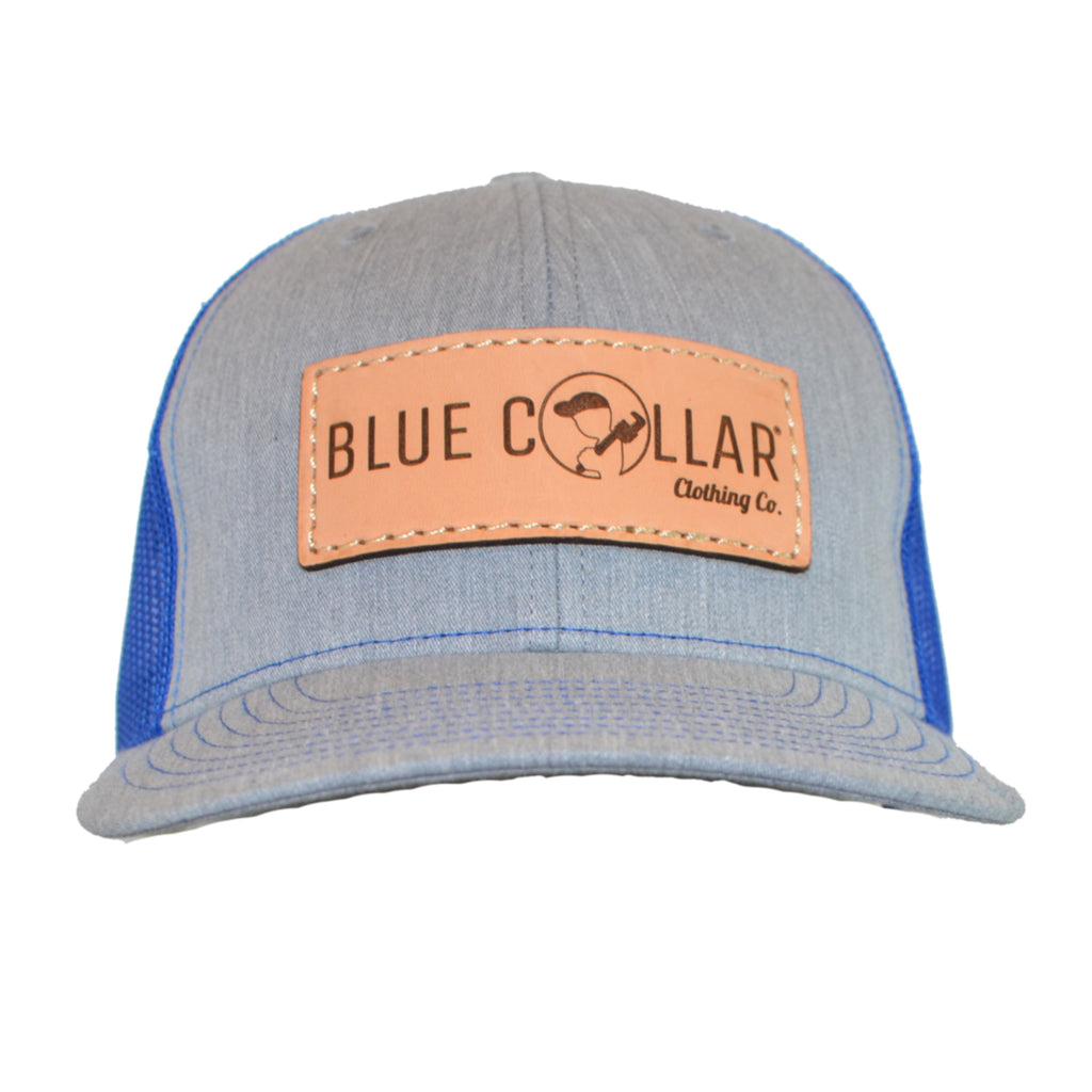 Blue Collar Clothing Co. Full Logo Trucker Hat Heather Gray/Royal 112