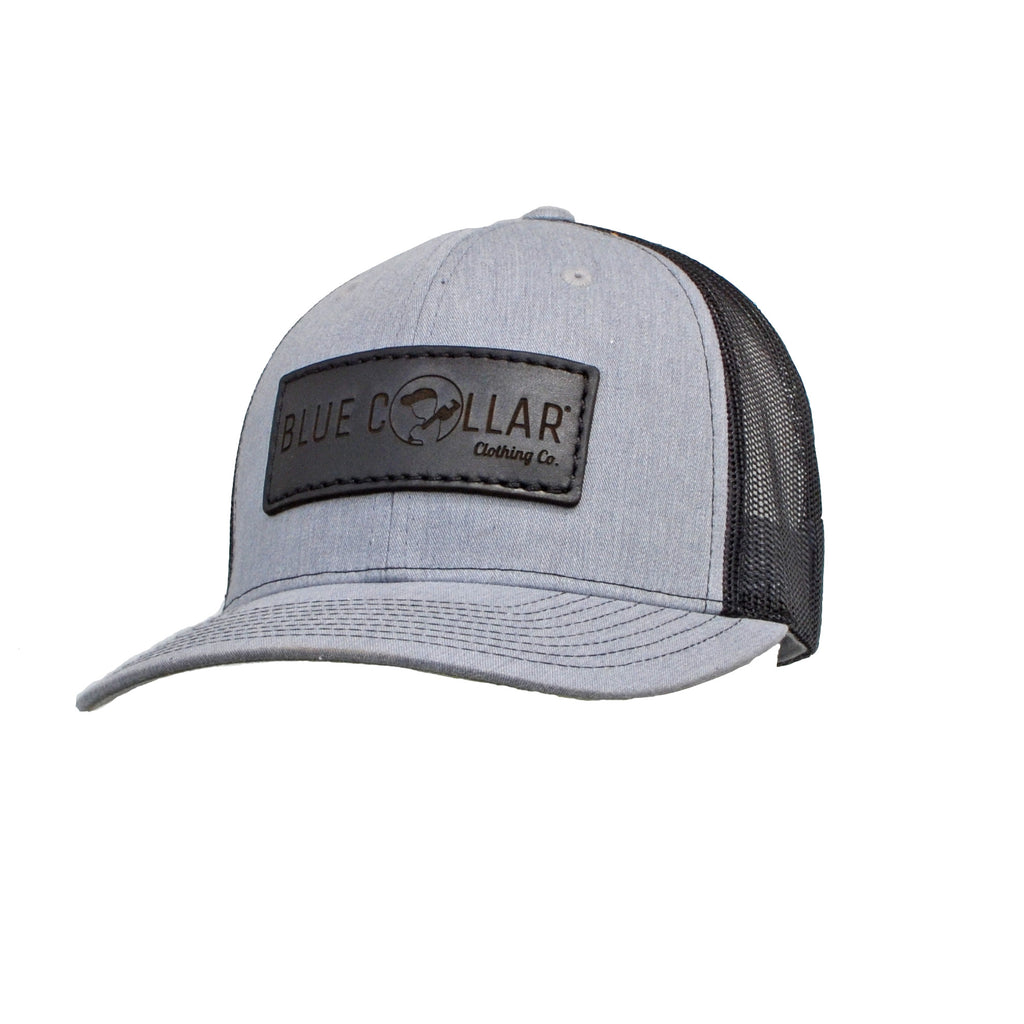 Blue Collar Clothing Co. Black Patch Full Logo Trucker Hat Heather Gray/Black 112