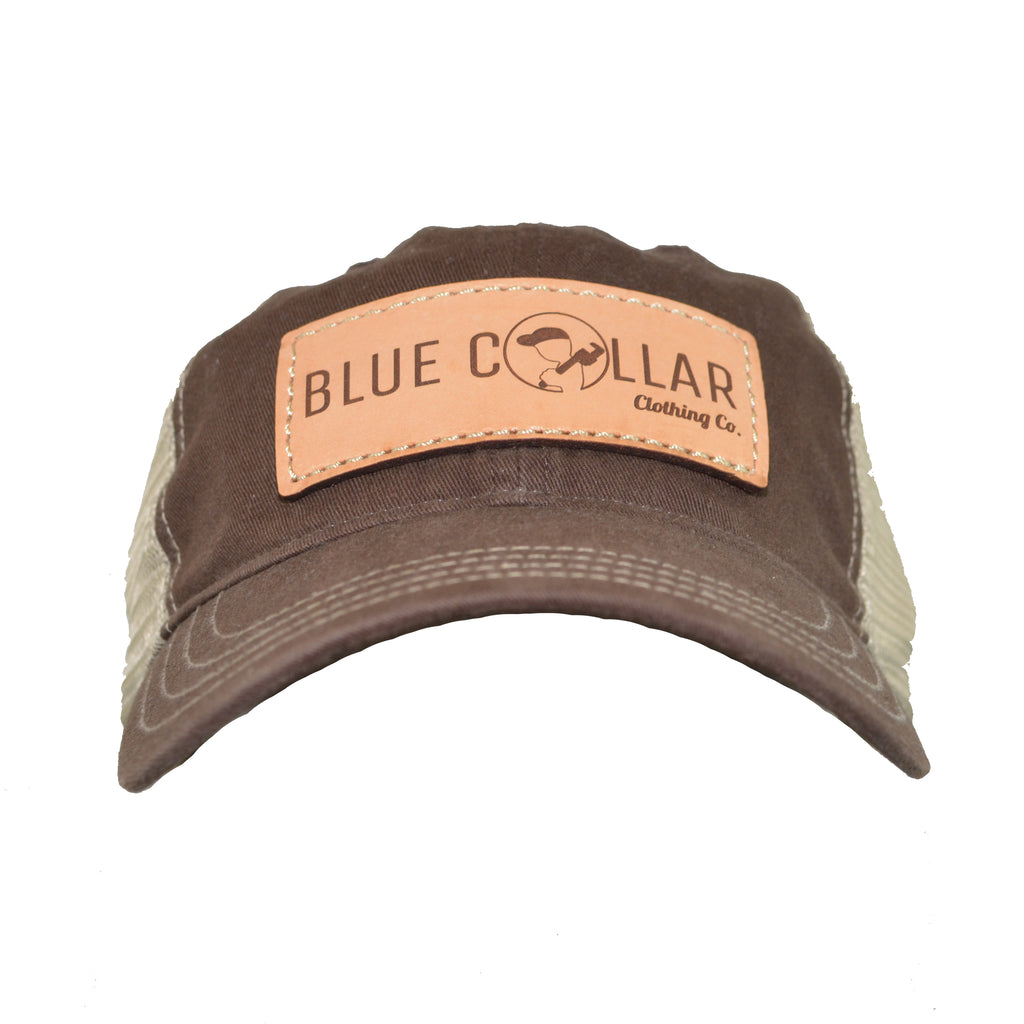 Blue Collar Clothing Co. Leather Patch Logo Washed Trucker Hat Brown/Khaki 111