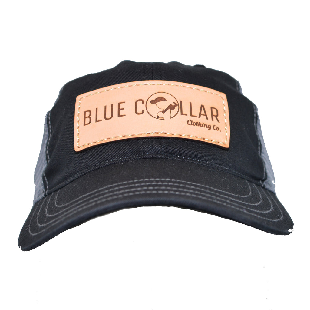 Blue Collar Clothing Co. Leather Patch Logo Washed Trucker Hat Black/Gray 111